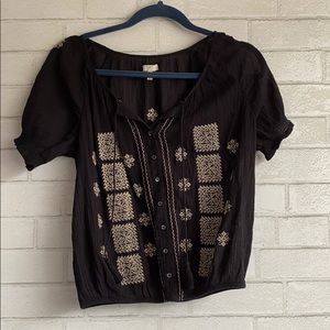 Joie Black Embroidered Boho Top